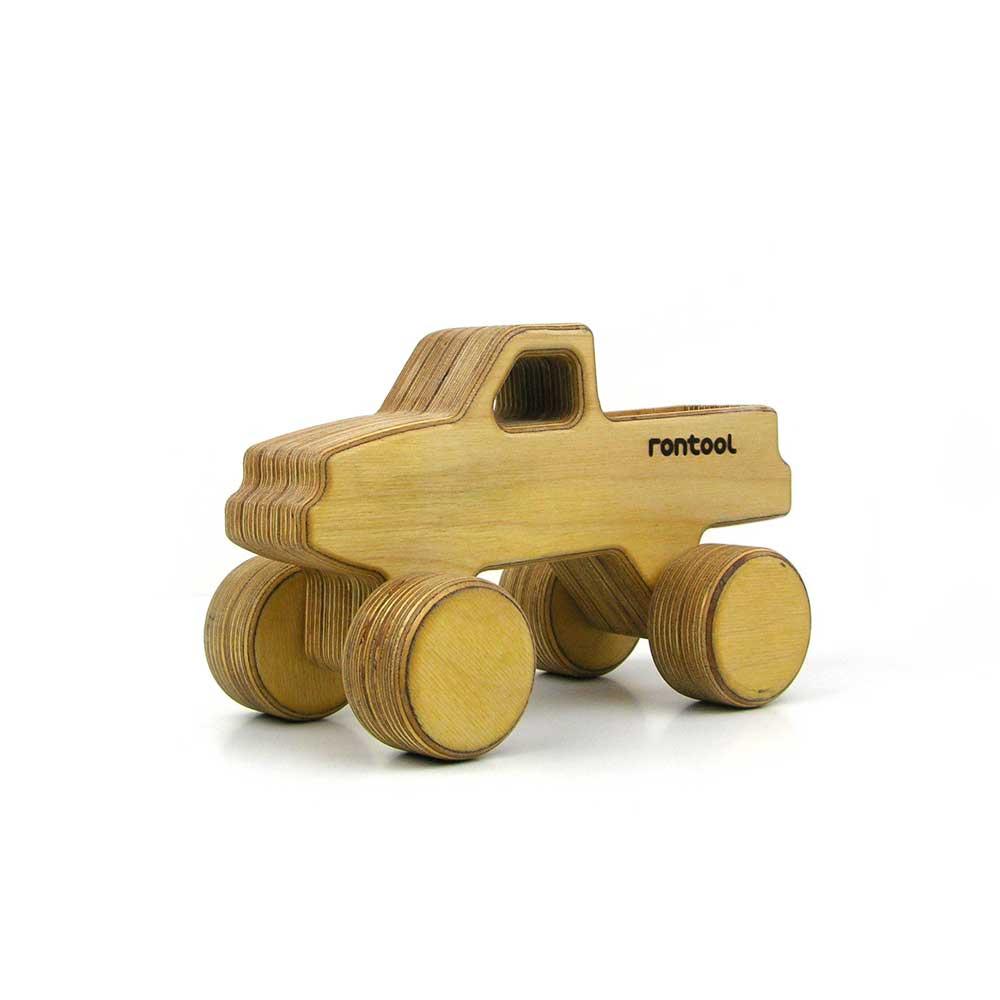 Rontool - Spielzeug aus Holz - Holzspielzeug Fahrzeuge Action Pickup Transporter fuer Kinder robust toll sicher aus Deutschland